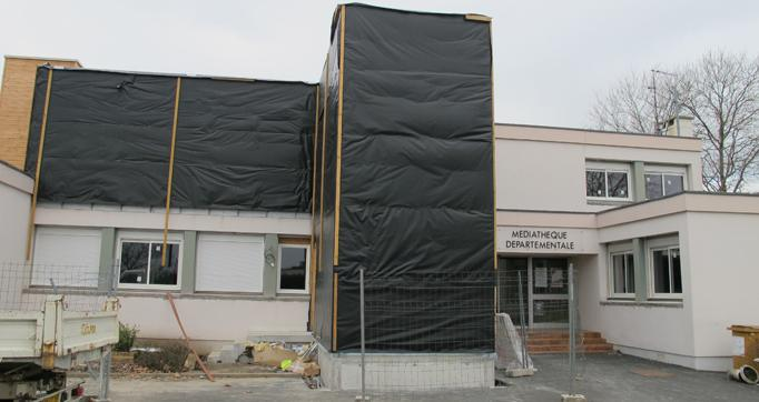 Photo actualité : Travaux sur le bâtiment principal de la Médiathèque Départementale a Aurillac