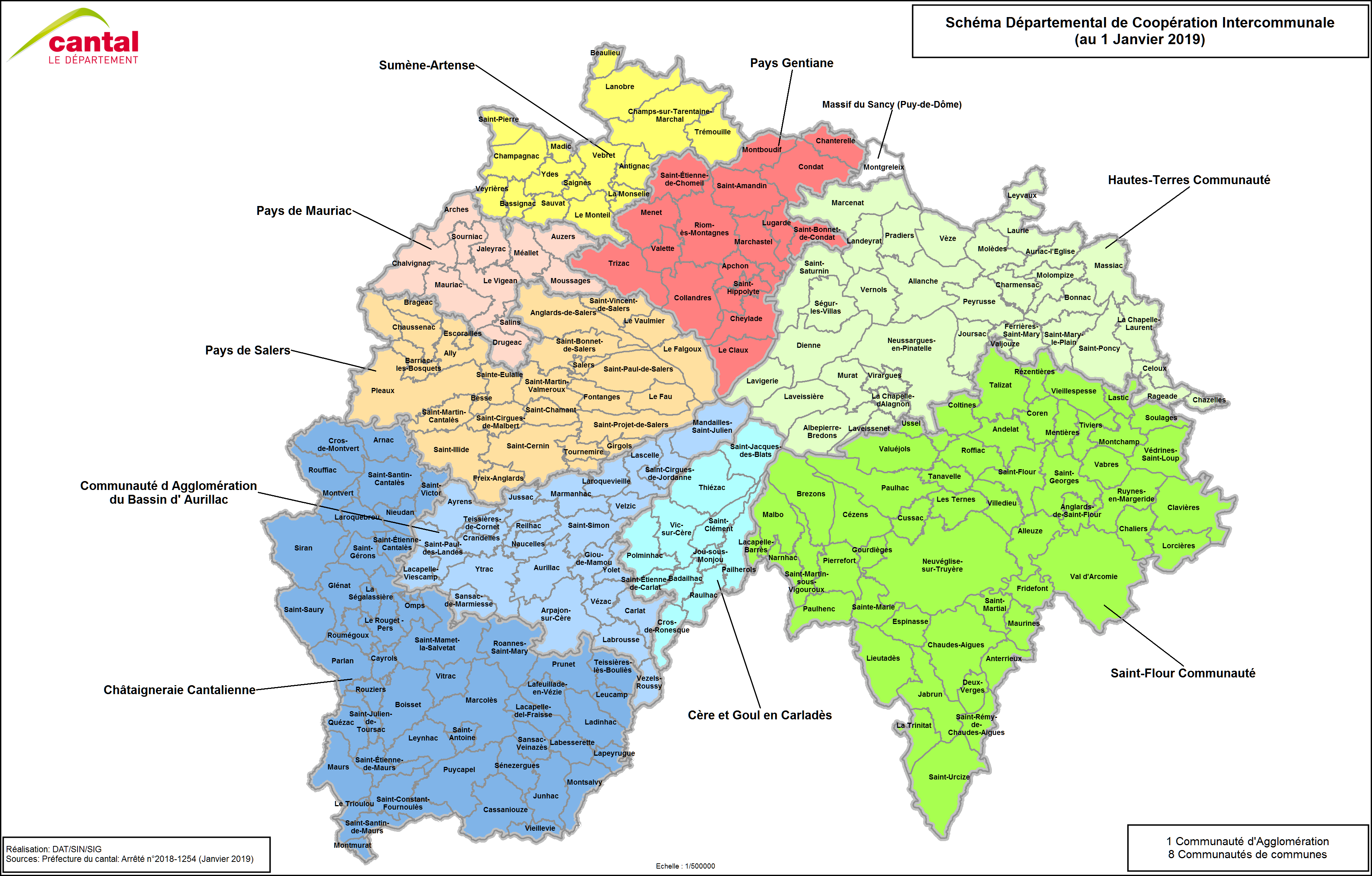Carte du Cantal - Voyages - Cartes